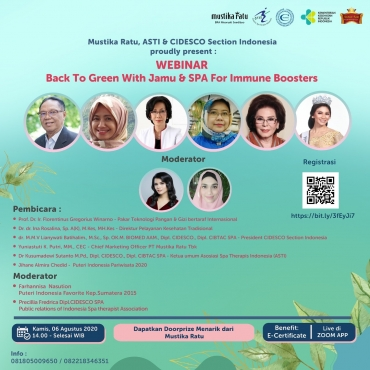 "WEBINAR ASTI – MUSTIKA RATU – CIDESCO SECTION INDONESIA ""Back to Green with Jamu & SPA for Immune Boosters"""